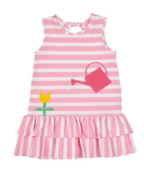 Pink Stripe Knit Dress with Watering Can Pocket - Florence Eiseman