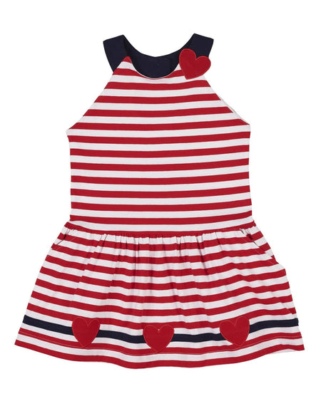 Striped Knit Dress with Ladybugs and Red Leggings