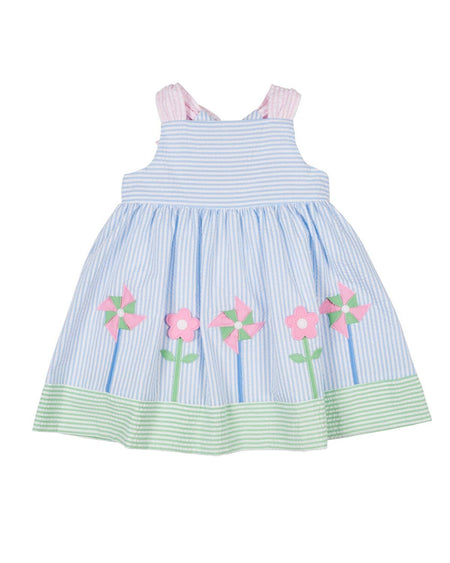 Pink Pique Skirted Romper with Applique Flowers