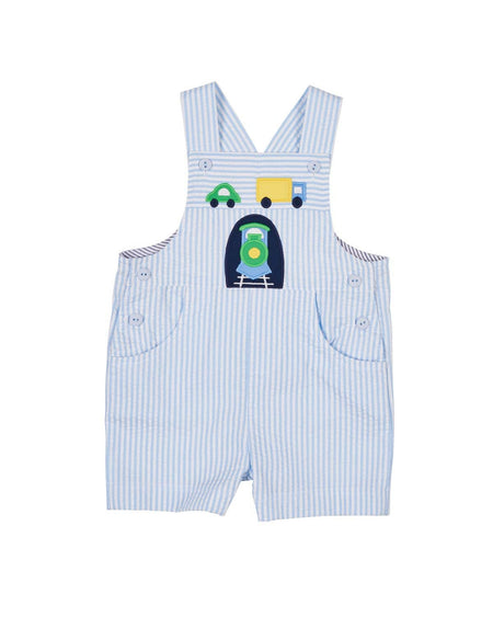 Seersucker Shortall with Appliqued Sailboat
