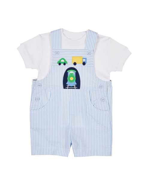 Light Blue Stripe Seersucker Train Shortall - Florence Eiseman