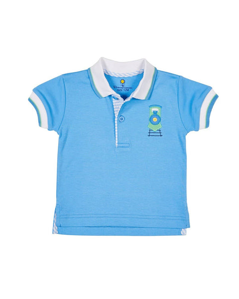 Blue Knit Train Polo - Florence Eiseman