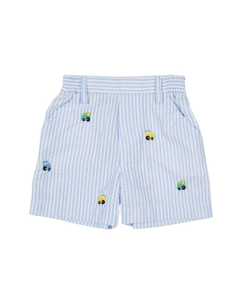 Boys Seersucker Shorts with Embroidered Trains - Florence Eiseman