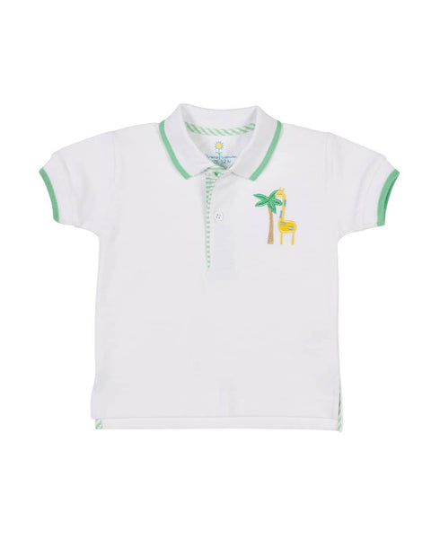 White Pique Polo Shirt w/ Giraffe and Palm Tree - Florence Eiseman