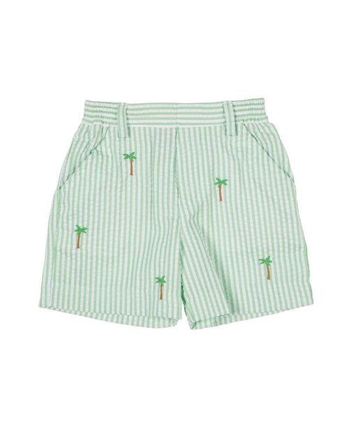 Green Seersucker Shorts with Embroidered Palm Trees - Florence Eiseman
