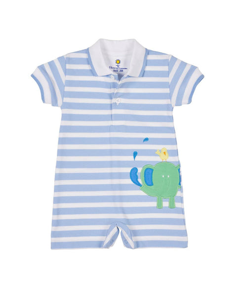 Light Blue Stripe Knit Elephant Romper - Florence Eiseman