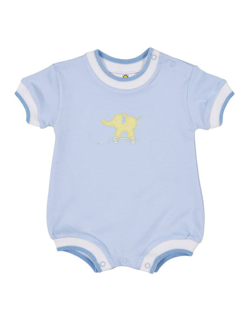 Pastel Blue Knit Romper with Applique Elephant - Florence Eiseman