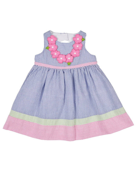 Light Pink Raised Stripe Dress with Appliqued Flowers