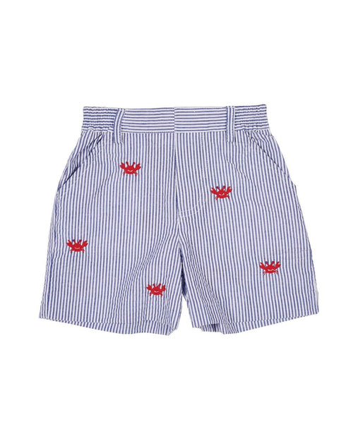 Royal Stripe Seersucker Shorts with Embroidered Crabs - Florence Eiseman