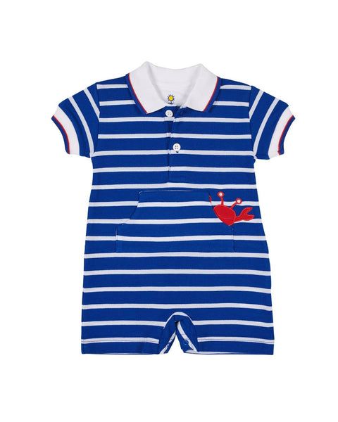Royal Stripe Knit Pique Crab Romper - Florence Eiseman