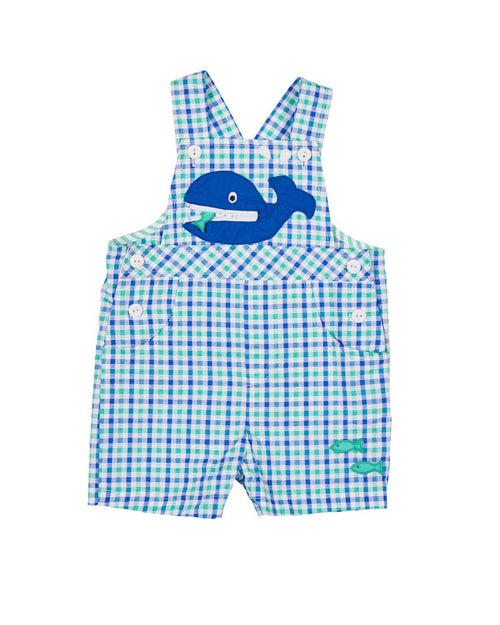 Blue and Green Seersucker Whale Shortall - Florence Eiseman