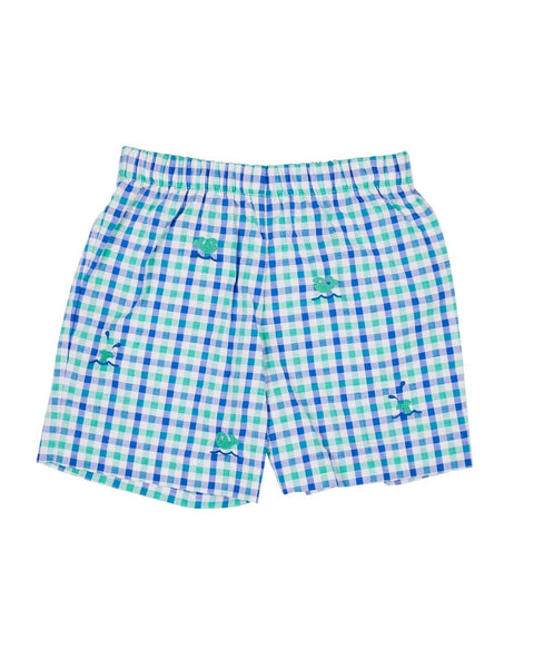 Blue and Green Seersucker Shorts with Embroidered Whales - Florence Eiseman