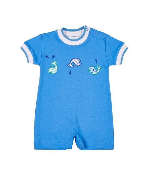 Blue Knit Shortall with Applique Whales - Florence Eiseman