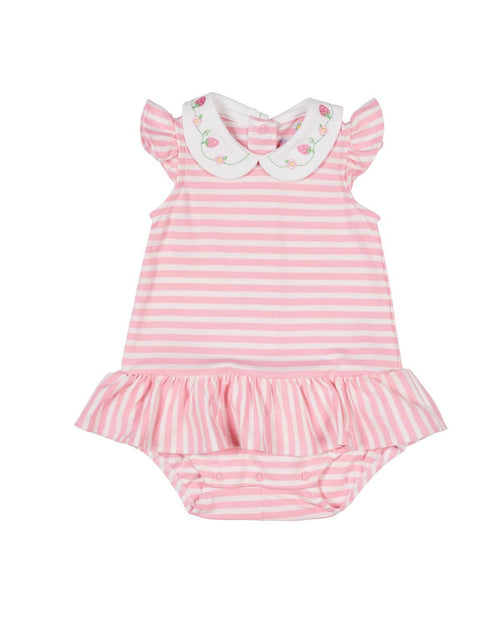 Pink Stripe Knit Strawberry Romper - Florence Eiseman