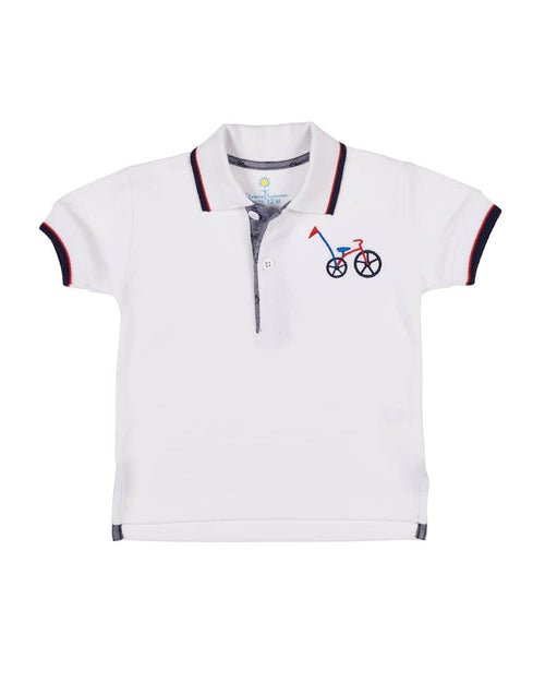 White Knit Pique Polo with Embroidered Bicycle - Florence Eiseman