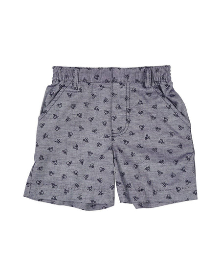 Seersucker Shorts with Fish Embroidery