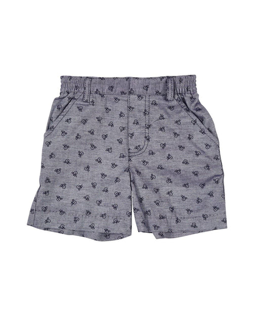 Navy Chambray Bike Print Shorts - Florence Eiseman