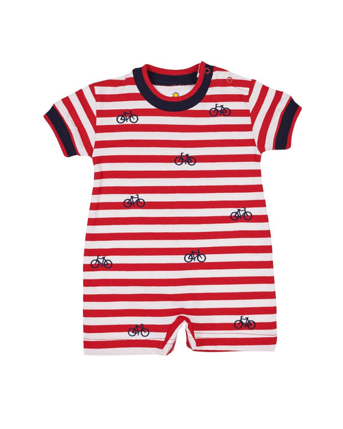 Red Stripe Knit Shortall with Embroidered Bicycles - Florence Eiseman