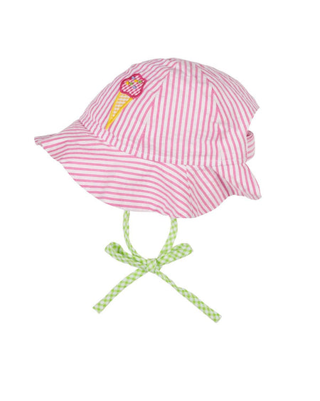 Pink White Stripe Seersucker Hat with Flowers