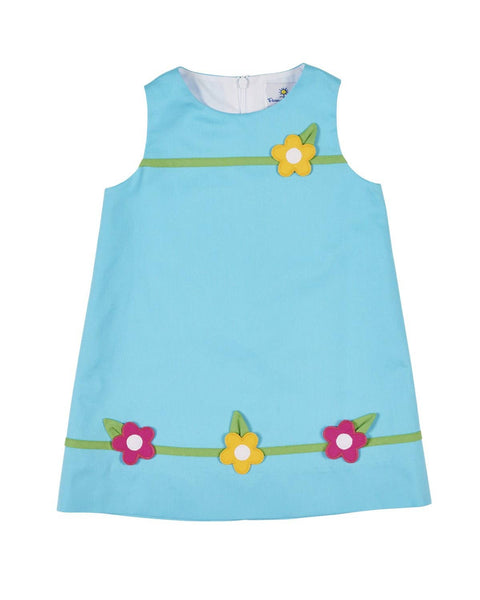 Turquoise Pique Dress with Appliqued Flowers - Florence Eiseman