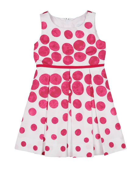 Pink Jacquard Dress with Circles