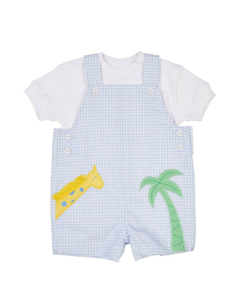 Blue Check Pique Shortall with Giraffe and Palm Tree - Florence Eiseman