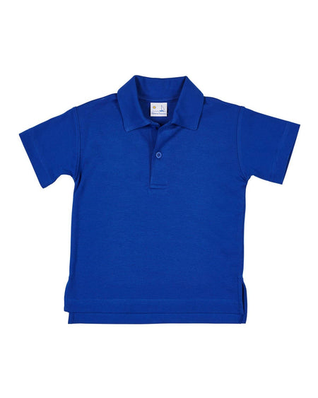 Blue and White Knit Baseball Polo