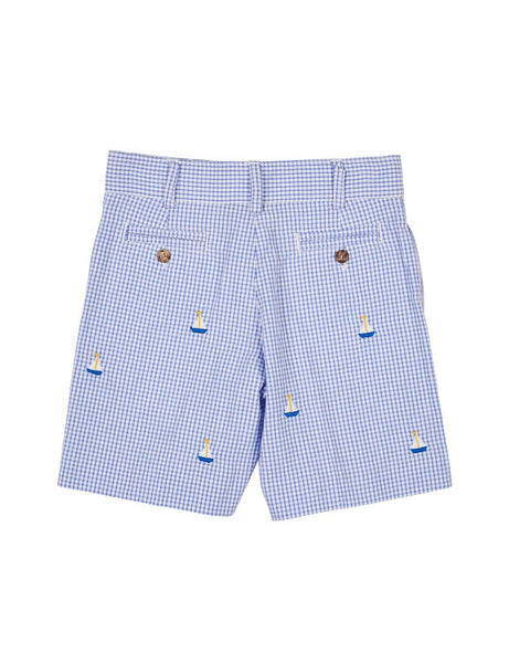 Seersucker Check Shorts with Sailboat Embroidery - Florence Eiseman