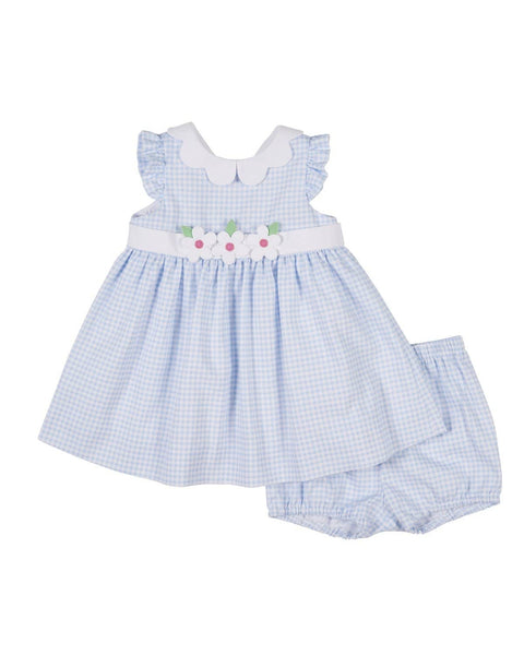 Light Blue and White Check Limited Edition Dress and Bloomer - Florence Eiseman