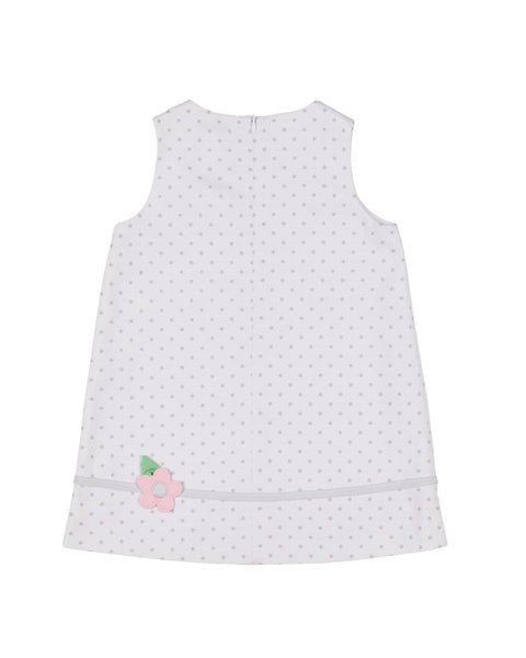 White and Gray Polka Dot Dress with Appliqued Flowers - Florence Eiseman
