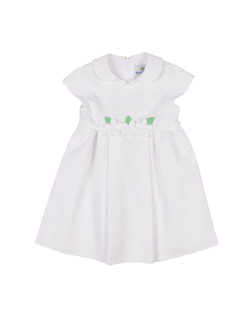 White Wale Pique Dress with Appliqued Flowers - Florence Eiseman