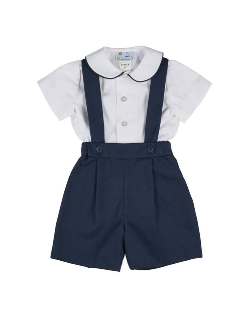 White and Navy Pique Suspender Short and Shirt - Florence Eiseman