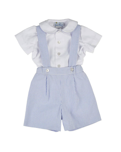 Seersucker Suspender Short and Shirt Set - Florence Eiseman