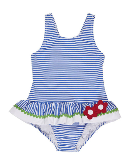 Blue/White Polka Dot Waffle Knit Swimsuit