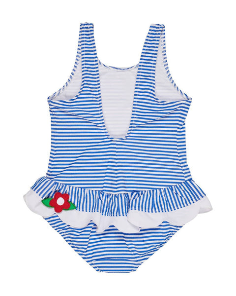 Blue Stripe Seersucker Swimsuit with Appliqued Flowers - Florence Eiseman