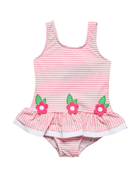 Pink Knit Romper with Flower Pot