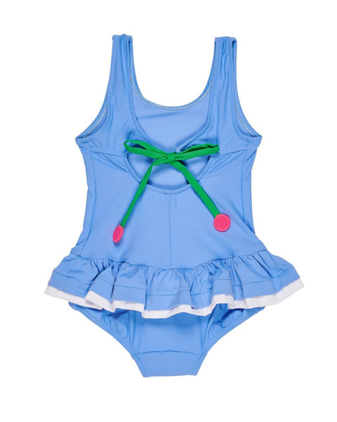 Periwinkle Swimsuit with Cherry Appliques - Florence Eiseman