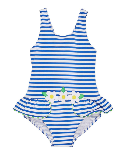 Royal Stripe Swimsuit with Daisy Appliques - Florence Eiseman