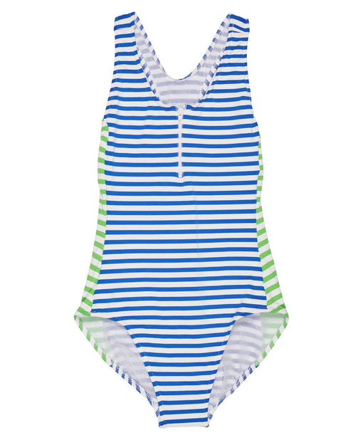 Stripe Y-Back Swimsuit with Zipper - Florence Eiseman