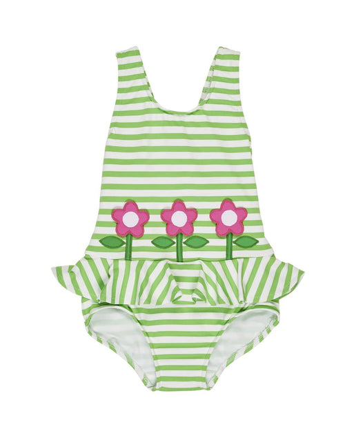 Green Stripe Swimsuit with Flowers - Florence Eiseman