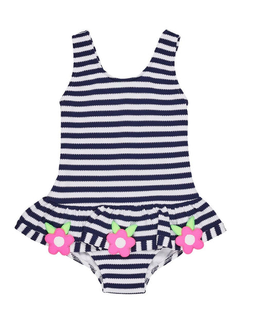 Navy and White Waffle Stripe Swimsuit with Flowers - Florence Eiseman