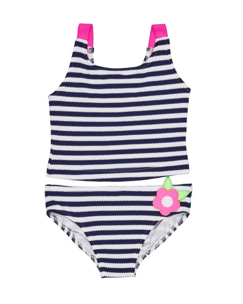 Navy and White Waffle Stripe Tankini - Florence Eiseman