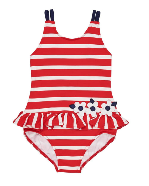 Red and White Stripe Swimsuit with Flowers - Florence Eiseman