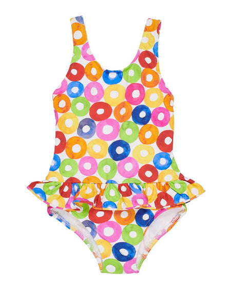 Periwinkle Swimsuit with Cherry Appliques