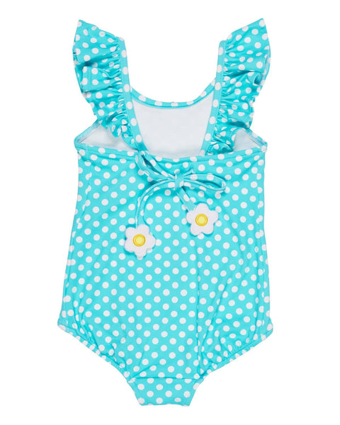 Aqua Dot Swimsuit with Shoulder Ruffles - Florence Eiseman
