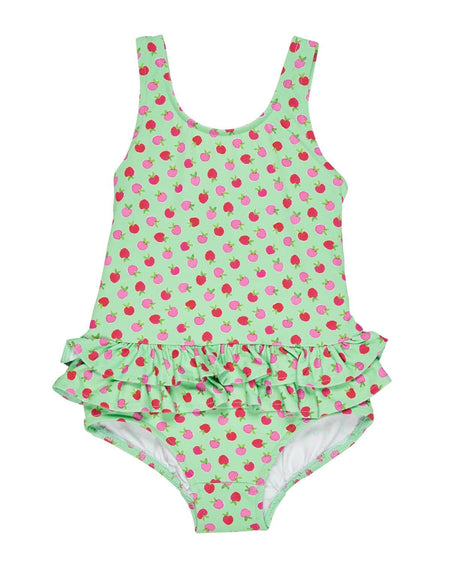 Green Stripe Swimsuit with Flowers