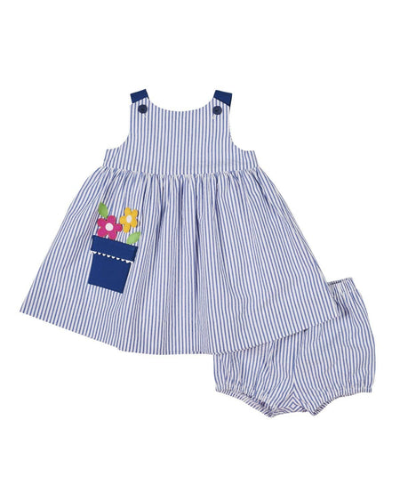 Seersucker Dress and Bloomer with Appliqued Fish