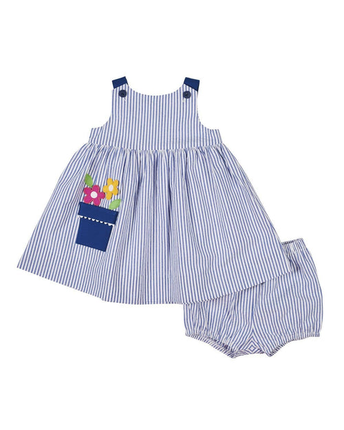 Stripe Seersucker Dress and Bloomer with Flower Pot Pocket - Florence Eiseman