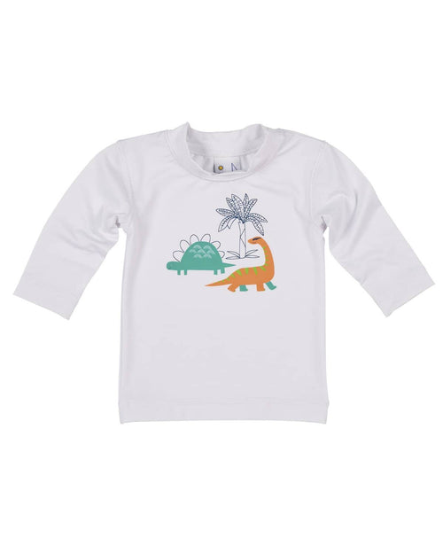 White Rash Guard with Dinosaur Screen Print - Florence Eiseman