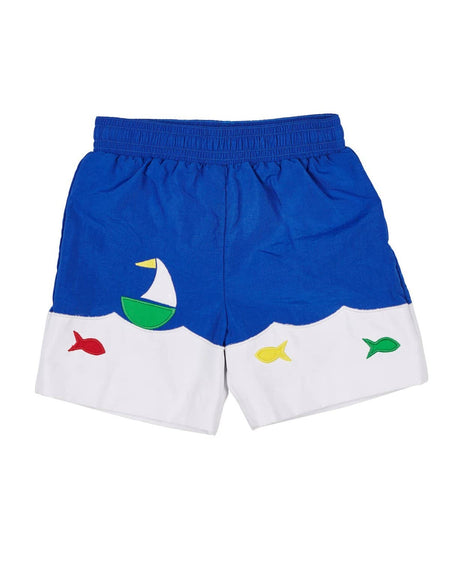 Seersucker Swim Trunk with Appliqued Whale